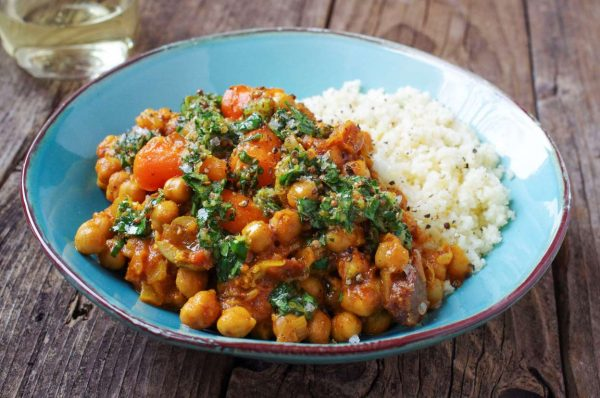Recipe: Chickpeas, plenty of spices, and herb oil go into this vegetarian tagine